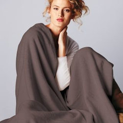 Garnet Hill - Garnet Hill Cotton Fleece Blanket and Throw from Germany - Double - Bark - Crafted in Germany using exclusive Garnet Hill colors, this luxurious all-cotton blanket or throw of soft high-pile fleece wicks away moisture and conserves body heat to keep you comfortable regardless of the season. Finished with matching velour binding on all sides, each blanket and throw is made to last; a special washing process ensures deep and bright colorfast hues for years to come. Germany.