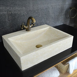 """Living'ROC - 22"""" Egyptian Marble Bathroom sink + faucet hole - TORRENCE GALALA - Rectangular Natural stone vessel sink TORRENCE GALALA - 21-2/3' x 16-1/2' x 4-3/4' - genuine interior decoration beige Galala marble. The 'Exceptional' cut in the block without any comparison with plastic and other chemical resin market often unaffordable.  You will definitely not let anyone feel indifferent with this 100% natural stone unique in the US and exclusively available on Living'ROC.net.  Feel free to click on our facebook portfolio page to inspire yourself with our clients' projects...Simply our living'ROC style.  How to make your bathroom unique ! Made from genuine Egyptian  Galala Marble this basin will delight lovers of beautiful work looking for rare products. Add value to your home by transforming your bathroom into an oasis of elegance calm and tranquillity. Imagine creating a beautiful bathroom made from genuine beige marble from Egypt. Discover the well-being and the restful feeling our creation can offer you. Our creation is one of the most fashionable in our bathrooms range. This vessel sink is not only beautiful to look at it is also functional with its height and its edges allowing a large amount of water. Galala marble is dominant in strength of great value and authentic in look and feel.  Torrence Galala is delivered without an overflow drain and faucet (not included) - every US drains and faucets models you can find on the market will fit perfectly on Living'ROC vessel sink. This model is ready to use over the countertop. The photos you see online have been taken with extreme care by our Founder CEO - Florent LEPVREAU because without them we would not be one of the natural stone business key player of the online European continent. Once you have encountered the product in your home you will always have pure happiness for the love of the materials. It will be beyond your expectations because what you see online at livingroc.net is what you will receive. This is """