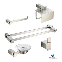 Fresca - Fresca Ellite 5-Piece Bathroom Accessory Set w/ Double Towel Bar - This Fresca Ellite 5-Piece Bathroom Accessory Set is the perfect package to finalize your powder room. With great looking brushed nickel accessories that will complement everything else in your bathroom, the Fresca Ellite Accessory Set is the best way to save money and make your bathroom look great! This set includes a double towel bar, soap dish, toilet paper holder, towel ring and robe hook.