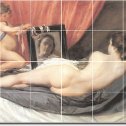 Picture-Tiles, LLC - Venus At Her Mirror Tile Mural By Diego Velazquez - * MURAL SIZE: 32x48 inch tile mural using (24) 8x8 ceramic tiles-satin finish.
