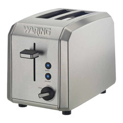Waring Pro - Waring Pro 1000-Watt 2-Slice Brushed Stainless Steel Toaster - Here's a simple and smart 2-slice toaster to grace your countertop. It features an adjustable shade control and cancel knob, defrost and bagel settings with LED indicators, a high-lift carriage and slide-out crumb tray. Now all you have to worry about is finding the right bread — or English muffin, or bagel, or ...