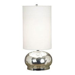 "Silver Nest - Hollister Table Lamp - 23""h - Radiant, reflective Mercury Glass defines the spherical base of this contemporary lamp, giving it a romantic feel. A tall White drum shade elongates and defines the shape."