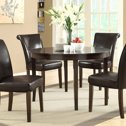 None - Dark Espresso Veneer Top 48-inch Dining Table - A gorgeous dark espresso,this dining table is the perfect way to upgrade your dining room. With sturdy legs and a clean,circular shape,this table is both functional and stylish.