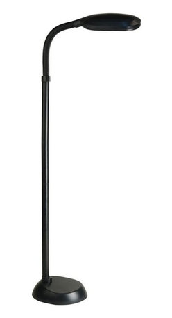 Lite Source - Aptos Contemporary Fluorescent Floor Lamp in Black - Fluorescent bulb included. Shade dimension: 11 in. L x x 2 in. H. Lamp dimension: 10.5 in. W x 52 in. H (13.25 lbs.). Product Installation Instructions