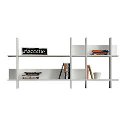 Decortie - BEADS BOOKCASE / WALL SHELF, White - White - Sleek and Elegant, the Decortie Beads Wall Shelf is a stunning design that would look fabulous in a contemporary interior. Featuring two shelves divided into ten sections through Mondrian-esq angular lines and panels, this piece is perfect for holding your books, art and object.