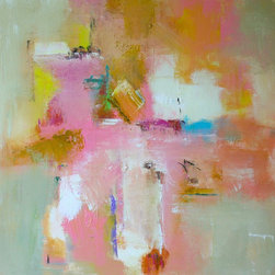 """""""Impress"""" Artwork - Soft and beautiful impressionistic pastel color palette used on this contemporary abstract painting.  Professional quality acrylic paints on a gallery wrap canvas with the 1.5"""" depth sides painted white.  Wired and ready to hang."""