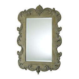 Vintage French Mirror - Reminiscent of the mirrors that glimmer in the chateaus of Provence, the Vintage French Mirror boasts gentle scrollwork and an Oyster Silver Finish that lend the piece old-world charm. Whether placed among the appointments of a master suite, personal library, or foyer, the mirror bestows a beauty that is at once stately yet not overly adorned.