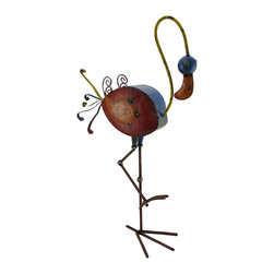 Zeckos - Colorful Flamingo Distressed Finish Metal Sculpture 28 in. - Add a whimsically cheerful accent to your home or garden with this colorful flamingo sculpture. Crafted from metal, it's painted with a distressed finish in rich colored enamels and stands 28.25 inches (72 cm) high, 15 inches (38 cm) long and 6.5 inches (17 cm) wide. It looks great among your vegetable garden, your bed of blooms or in your home. This piece makes a great gift for friends and family that is sure to be admired.