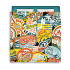 "Surfer Bedding - Eco Friendly ""California Vintage Surf Stickers"" Premium Queen Size Duvet Cover - ""California Vintage Surf Stickers"" Surfer Bedding Is Premium Quality and Made In The USA!"