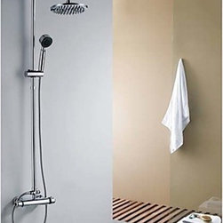 Shower Faucets - Contemporary Shower Faucet with 8 inch Shower Head and Hand Shower--FaucetSuperDeal.com
