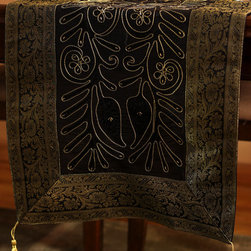 """Elegant Table Runners - Gorgeous Black with Gold border table runner. """"Ornamental Embroidered"""" design crafted in India. Great complement to any table top. """"Midnight Black"""""""