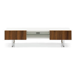 Calligaris - Seattle Low TV Bench with Open-Front Componen - Finish: Walnut Doors & Satin BasePictured in Walnut Doors & Chromed Base. Glossy white frame. Entertainment unit with 2 drawers. 1.625 in. thick drawer fronts. One central open compartment w hole for cable management. Push-pull drawers - no handles. Central open compartment includes one transparent tempered glass shelf. Assembly required. Height from ground: 7.875 in.. 72.5 in. W x 20.75 in. D x 17.75 in. H