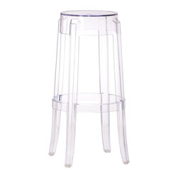 "Zuo - ""Zuo Anime Bar Chair, Transparent"" - ""The Anime bar chair is the essence of modern with its transparent single mold polycarbonate construction. Dimensions (W x L x H): 18"""" x 18"""" x 29.5""""Seat Height: 29.5""""Seat Depth: 11.4""""Cubic Feet: 4.13Weight: 6.6 lbsMaximum Weight Capacity: 250 lbsProduct Material: PolycarbonateAssembly Required: No"""