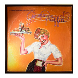 """Glittered American Graffiti Soundtrack Album - Glittered record album. Album is framed in a black 12x12"""" square frame with front and back cover and clips holding the record in place on the back. Album covers are original vintage covers."""