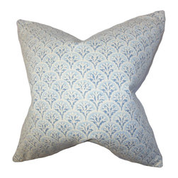 """The Pillow Collection - Bristol Floral Pillow, Blue, 18"""" x 18"""" - Dress up your bedroom or living room with this charming statement piece. This square pillow features a floral pattern in soft shades of blue and white. It adds sophistication to your home in an instant. Place this accent pillow anywhere on your sofa, bed or sectional for extra comfort and dimension. Made from 100% soft cotton fabric, this 18"""" pillow is crafted in the USA. Hidden zipper closure for easy cover removal.  Knife edge finish on all four sides.  Reversible pillow with the same fabric on the back side.  Spot cleaning suggested."""