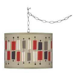 """Ragnar - Contemporary Bounce Giclee Swag Style Plug-In Chandelier - Add instant style and glamour with this swag chandelier. Plug the light into any standard wall outlet then hang the cord on included the swag hooks. Drape the cord as desired. The lamp features a brushed silver finish spider fitting and a silver cord. In-line on-off switch controls the lights. Includes swag hooks and mounting hardware. Shade pattern designed by Southern California retro modern pop artist and illustrator Ragnar. U.S. Patent # 7347593. Ragnar Bounce shade pattern. Custom-printed giclee shade. Brushed silver finish. Maximum 100 watt bulb or equivalent (not included). Shade is 10"""" high 13 1/2"""" wide. Includes 15 feet of lead wire 10 feet of chain.  Ragnar Bounce shade pattern.  Custom-printed giclee shade.  Brushed silver finish.  Maximum 100 watt bulb or equivalent (not included).  Shade is 10"""" high 13 1/2"""" wide.  Includes 15 feet of lead wire 10 feet of chain."""