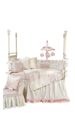 Glenna Jean - Victoria Baby Crib Bedding Set 3-Piece Set - The Victoria Baby Crib Bedding Set by Glenna Jean is made using the finest fabrics in a soothing color palette. Crinkle floor length bed skirt is trimmed with a dimensional rose made from multiple layers of twirled sheer fabric. Luxurious damask is a tone on tone velvet that is super soft to the touch. Mini polka dots in mocha and pink are embroidered on cream taffeta. A harlequin pin-tuck fabric in ivory adds texture. Silken ballet pink fabric and an additional cream velvet have a slight sheen to add subtle luster. Sheet is made from 100% cotton polka dot print. Mobile drops are bunches of cabbage roses. Quilt, bumper and pillows are trimmed with cream cord made from tiny looped ribbons.