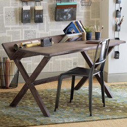 Reference Desk - We're just wild about sawhorse tables and trestle tables, and this desk not only combines the two in a simple and sophisticated way, but adds a clever angled shelf for books and rolled up drawings.