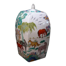 Golden Lotus - Chinese Porcelain Color Oriental Horses Decor Jar - This is a Chinese decoration jar with hand draw difference color horses gathering scenery.