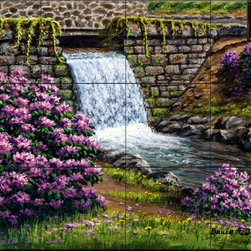 The Tile Mural Store (USA) - Tile Mural - Spring Has Sprung - Kitchen Backsplash Ideas - This beautiful artwork by Bruce Dumas has been digitally reproduced for tiles and depicts a stream with a waterfall with some colorful flowers.  This garden tile mural would be perfect as part of your kitchen backsplash tile project or your tub and shower surround bathroom tile project. Garden images on tiles add a unique element to your tiling project and are a great kitchen backsplash idea. Use a garden scene tile mural for a wall tile project in any room in your home where you want to add interesting wall tile.