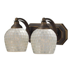 Joshua Marshal - Two Light Aged Bronze Silver Mosaic Glass Vanity - Two Light Aged Bronze Silver Mosaic Glass Vanity