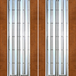 "2-1/4"" Thick Contemporary Mahogany Double Doors Art Glass - SKU#    NW-1672-Ext-2Brand    AAWDoor Type    ExteriorManufacturer Collection    New World DoorsDoor Model    Door Material    WoodWoodgrain    MahoganyVeneer    Price    3300Door Size Options    2(30"") x 80"" (5'-0"" x 6'-8"")  $02(36"") x 80"" (6'-0"" x 6'-8"")  +$802(30"") x 96"" (5'-0"" x 8'-0"")  +$4002(36"") x 96"" (6'-0"" x 8'-0"")  +$480Core Type    SolidDoor Style    ModernDoor Lite Style    Full Lite , 1 LiteDoor Panel Style    Home Style Matching    ContemporaryDoor Construction    Engineered Stiles and RailsPrehanging Options    Prehung , SlabPrehung Configuration    Double DoorDoor Thickness (Inches)    2.25Glass Thickness (Inches)    3/4Glass Type    Triple GlazedGlass Caming    Glass Features    Insulated , Tempered , BeveledGlass Style    Clear , Matte , Art , Glass Texture    Clear , Matte , Art , Glass Obscurity    Door Features    Door Approvals    Door Finishes    Door Accessories    Weight (lbs)    680Crating Size    25"" (w)x 108"" (l)x 52"" (h)Lead Time    Slab Doors: 7 daysPrehung:14 daysPrefinished, PreHung:21 daysWarranty    1 Year Limited Manufacturer WarrantyHere you can download warranty PDF document."