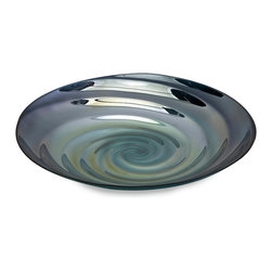 iMax - Moody Swirl Glass Tray - Inspired by the ripples of the moody ocean waters and the rich blues of clearest seas, the Moody Swirl tray mimics the inside of a treasured clam shell found on a romantic walk on the beach. Food safe.