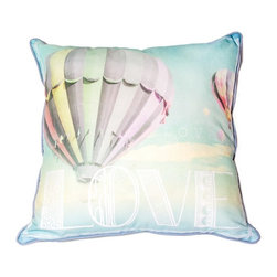 Air Balloon Decorative Pillow - Bring love to your home with this beautiful pillow from the Graham & Brown pillow collection. Beautifully designed in soft pastel shades this pillow is perfect for adding a finishing touch to your home. Featuring an idyllic hot air balloon in a beautifully peaceful sky, this cushion is sure to bring a calming feel to your home. Combining both typography and photography this pillow is a key trend piece this season. Made from 100% cotton at the beautiful size of 50x50cm and generously filled with polyester hollow fibre, this quirky pillow is both plush and cosy. Featuring a complimenting coloured back and colour co-ordinating piping and zip, each cushion in our unique range is finished to perfection.