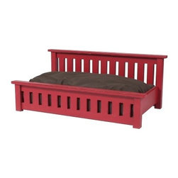 2 Day Designs Mission Dog Bed - Give your beloved pet a place that is as comfortable as it is stylish with the 2 Day Designs Mission Dog Bed. This beautiful bed features a raised Mission style design and an attractive rouge finish. Its slatted headboard and footboard offer a charming style to suit any space. Its sturdy build offers a cozy and safe-feeling place for your furry friend to rest and relax.About 2 Day Designs:Some 800,000 oak barrels are produced annually, many of them ending up in gardens as planters, some are simply destroyed. 2 Day Designs estimate that they have saved approximately 15,000 barrels from this ultimate end. From wine racks to occasional tables, they have developed over 50 items for this collection. Many of the products bear the branding and vineyard handling markings, as they were used in wine production. Color variation, distressing, and wood character are key elements in this handmade furniture line. 2 Day Designs prides themselves in enhancing wood's natural character with hand distressing, sanding, and seven different finish options. Circle saw marks are welcome! Some of their barrel products may even have visible numbers or writing on them from their previous lives in vineyards. Just like them, their products have a story to tell. Each product may vary slightly from the images shown. This is simply due to the nature of the resources. Reclaimed resources sometimes appear to have imperfections, these are unique product characteristics. It is part of each item's story. They have become repurposed.2 Day Designs is proud to continue their recycling heritage that began in 1993. It began with countless reclaimed white oak wine barrels, shipping crate pallets, and sawmill off-fall. They are proud of their record and commitment, and they ask for your help in protecting America's precious recourses whenever possible.