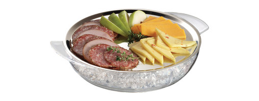 PRODYNE - Iced Platter, Two-Piece Set - You're as cold as ice. And you're not willing to sacrifice on style. This serving platter is made of high-quality stainless steel, sure to make all your munchies look good. And it fits into a clear acrylic bowl that holds ice so you can cool things down like a 1970s rock ballad.