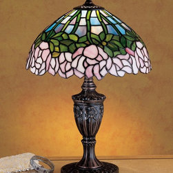 Meyda Tiffany - Meyda Tiffany 30343 Cabbage Rose Traditional Tiffany Accent Lamp - A wreath of full blooming Passion Pink cabbage roses circle this beautiful stained glass shade in a design inspired by the Louis Comfort Tiffany studio. Bronzed Green leaves and stems form a pattern against an Opal sky in this lovely Mahogany Bronze finished accent lamp.