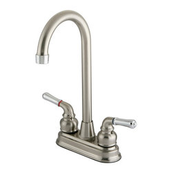 "Kingston Brass - Two Handle 4"" Centerset High-Arch Bar Faucet - This double handle centerset high-arch bar faucet features a transitional look that offers a new way for lovers of traditional and modern style to coordinate their kitchen. The faucet provides a two-hole sink application and a 1/4-turn on-and-off mechanism for controlling the flow of water. The item is fabricated in high-quality brass and is crafted to ensure years of reliable performance; also comes in a variety of finishes to allow you options when creating/improving your bar setting.; Combination of satin nickel finish with polished chrome handles; Water flow rate is 2.2 GPM (8.3 LPM) maximum flow rate at 60 PSI; Metal lever handles with a 1/4-turn washerless cartridge; Two-hole 4"" centerset installation with a 90-degree rotation water control mechanism; J-spout has 4-3/4"" reach with a 11"" height; Material: Brass; Finish: Polished Chrome Finish; Collection: Magellan"