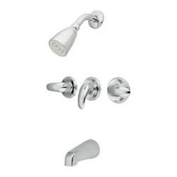 "Kingston Brass - Kingston Brass Polished Chrome Legacy Three Handle Tub & Shower Faucet KB6231LL - The stylish, functional three handle tub and shower faucet brings a timeless look and is accessible for a modern or traditional setup to your bathroom. The high quality brass construction add a stylish touch to a variety of decorative schemes. This durable features a 7-1/2"" shower head reach, a 5"" spout and three Legacy levers providing water control and temperature.. Manufacturer: Kingston Brass. Model: KB6231LL. UPC: 663370005350. Product Name: Three Handle Tub & Shower Faucet. Collection / Series: Legacy. Finish: Polished Chrome. Theme: Contemporary / Modern. Material: Brass. Type: Faucet. Features: Beautiful premier finish"