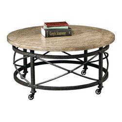 Hekman - Urban Loft Round Mobile Coffee Table - This is a beautiful piece of top-quality furniture that's perfect for your Man Cave, Game Room, Office or anywhere you would like to decorate and show your personal style.