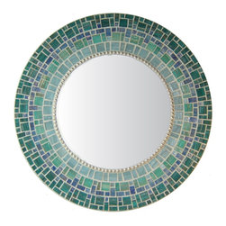"Round Mirror - Blue & Teal Glass Mosaic, 30"" - MIRROR DESCRIPTION"