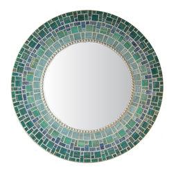 "Round Mirror - Blue & Teal Glass Mosaic, 30"" - MIRROR DESCRIPTION"
