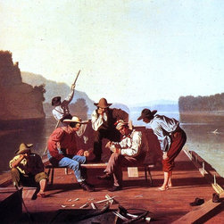 "George Caleb Bingham Ferrymen Playing Cards - 18"" x 24"" Premium Archival Print - 18"" x 24"" George Caleb Bingham Ferrymen Playing Cards premium archival print reproduced to meet museum quality standards. Our museum quality archival prints are produced using high-precision print technology for a more accurate reproduction printed on high quality, heavyweight matte presentation paper with fade-resistant, archival inks. Our progressive business model allows us to offer works of art to you at the best wholesale pricing, significantly less than art gallery prices, affordable to all. This line of artwork is produced with extra white border space (if you choose to have it framed, for your framer to work with to frame properly or utilize a larger mat and/or frame).  We present a comprehensive collection of exceptional art reproductions byGeorge Caleb Bingham."