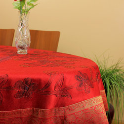 """Unique & DecorativeTablecloths - Stunning """"Scarlet Red"""" hand painted tablecloth design. 53"""" Round. Great decor idea for the holidays. Christmas. Dupion Silk fabric."""