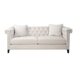 Z Gallerie - Charleston Sofa - Boasting clean-lines and sophistication, our exclusive Charleston Sofa's tailored design envelopes you in the utmost of style and luxury. Showcasing clean lines, 5/8 inch satin finished nickel nail heads and deep diamond tufted back and arms, our Charleston Sofa unifies appearance with comfort. An extra deep seat cushion offers a wonderful place to rest easy. The sofa is complete with 4.75 inch tall wooden pyramid legs in a rich espresso finish. Frame is kiln dried hardwood.
