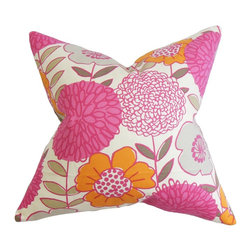 The Pillow Collection - Veruca Floral Pillow Pink - This floral throw pillow is rich with bright and appealing hues. Create a lovely allure in your living space by adding a splash of color in pink, orange, gray and white. This affordable decor pillow allows you to reinvent your home without spending a fortune. Made from 100% soft and high-quality cotton material. Hidden zipper closure for easy cover removal.  Knife edge finish on all four sides.  Reversible pillow with the same fabric on the back side.  Spot cleaning suggested.