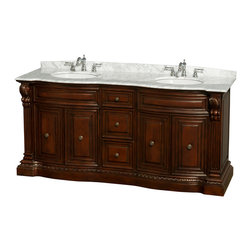 """Wyndham Collection - Roxbury 72"""" DBL Bathroom Vanity in Cherry, White Carrera Top, UM Sinks, No Mrrs - The Roxbury vanities are hallmarks of elegant detailing and hand-crafted workmanship that evoke images of the grandeur and style of classic America. No detail has been spared, from the anchoring strength of the base to the subtlety of the raised paneling, this is truly luxury at an affordable price, and the perfect statement of taste and tranquility for your new bathroom."""