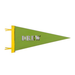 Letter2Word - Grass Green Personalized Stencil Pennant - Cheer on little athletes with this customized pennant, perfect for giving rooms a touch of sporty style.   11' W x 22'' L Made in the USA