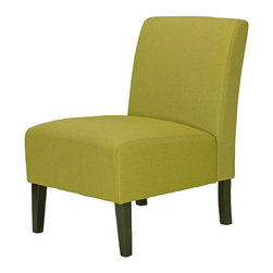 Cortesi Home - Chicco Citron Green Armless Accent Chair - The armless Chicco Citron accent chair will add character to any of your rooms with its cheerful mid-century color fabric. It is upholstered in a yellow-green linen fabric with legs that come in a cappuccino finish. This chair is excellent quality with a solid wooden frame, spring support construction, and a popular and unique color fabric. Seat Height: 16""