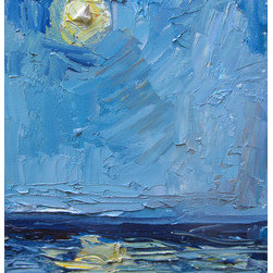 Cabrillo Beach Moon Rise Ii (Original) by Carol Steinberg - From a fun adventure painting the moon rise over the ocean down in San Pedro, CA.