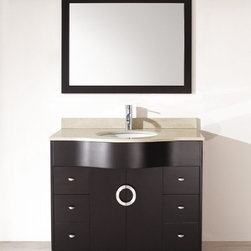 """Studio Bathe Zoe 42 Espresso Bathroom Vanity - Studio Bathe Zoe 42 Espresso Bathroom Vanity. Two single and two double-deep drawers support and complement the opposing """"C"""" stainless steel handles, whilst glamorous yet understated hardware give the vanity a Hollywood dressing room feel. With a grand finish of lacquered Espresso dark brown, the Zoe is a perfect example of today's streamlined lifestyle. Available with the following three countertop options: beige marble, carrera marble, and mint green glass. Faucet is NOT included."""