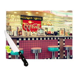 """Kess InHouse - Sylvia Cook """"Retro Diner"""" Coca Cola Cutting Board (11"""" x 7.5"""") - These sturdy tempered glass cutting boards will make everything you chop look like a Dutch painting. Perfect the art of cooking with your KESS InHouse unique art cutting board. Go for patterns or painted, either way this non-skid, dishwasher safe cutting board is perfect for preparing any artistic dinner or serving. Cut, chop, serve or frame, all of these unique cutting boards are gorgeous."""