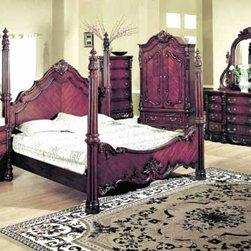 Yuan Tai Furniture - Savannah Eastern King Poster Bed - 5291K - Solid Hardwoods and wood veneers