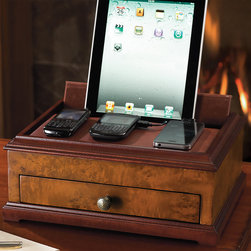 """Frontgate - Burlwood Charging Station with Lightning Connector - Rich leather-covered lid. Microfiber-lined interior. 6 ft. cord; 120V. Elegantly organize, store, and recharge all your portables within our Burled Wood Veneer Charging Station. Concealing a revolutionary slim charging tube, this refined box opens to provide powerful storage for up to three smartphones and an iPad , while the generous drawer stores keys, wallets, and watches out of sight.  .  .  . Charging Station with Lightning Connector includes 5 adapters: (1) mini USB, (1) micro USB, (2) Apple iPod/iPhone/iPad 30-pin connecters compatible with iPhone 3/3GS/4/4S, iPad 1st, 2nd, 3rd gen and iPod, and (1) Apple iPhone/iPad Lightning 8-pin connector compatible with iPhone 5/5S/5C, iPad with retina display, iPad Mini, iPad Air, iPod Nano 7th generation, and iPod Touch 5th gen.Classic Charging Station includes 4 adapters: (1) mini USB, (1) micro USB and (2) Apple iPod/iPhone/iPad 30-pin connecters compatible with iPhone 3/3GS/4/4S, iPad 1st, 2nd, 3rd gen, iPod Nan 6th gen and older, and iPod 4th gen and older. Lightning Connector (sold separately) is 31-1/2"""" in length and can be used to connect your iPhone, iPad, or iPod to the Charging Station; compatible with iPhone 5/5S/5C, iPad with retina display, iPad Mini, iPad Air, iPod Nano 7th gen, and iPod Touch 5th gen."""