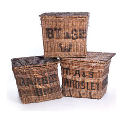 Go Home - Vintage Factory Baskets - This set of three vintage factory baskets are so unique and eclectic. Use them for crisp white towels and linens or bring outside and use as an unconventional planter. The hand-woven chestnut colored wicker with black printed detailing will give your home an industrial-chic look with a bit of vintage flair, indeed!
