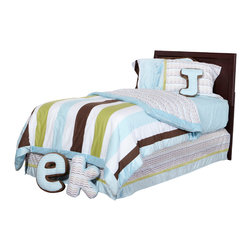 """Puppy Pal Boy - Twin Comforter - """"Puppy Pal"""" Twin Collection is so much FUN!  Comforter is reversible -- giving room a completely different look and feel !  Front of comforter is in the collections blue, green and brown stripes. Back of comforter is in the collections signature fabric """"Doggy Dip"""".   Both cotton print fabrics.  Entire comforter is framed in the collections amazing blue minky.  The softest around!"""